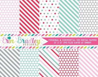 50% OFF SALE Commercial Use Printable Paper Pack in Pink Red Aqua Blue & Gray