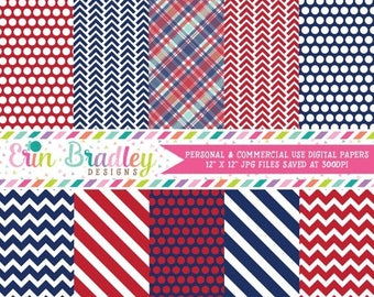 80% OFF SALE Blue and Red Digital Paper Pack Personal & Commercial Use Instant Download