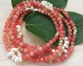 Pink/ Coral/ Watermelon Agate Gemstone and Pearl Necklace/ Wrap Bracelet on Elastic Cord