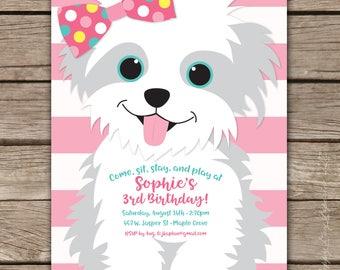 Puppy Party - Custom DIGITAL Birthday Party Invitation, any age GIRL