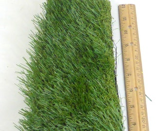 Artificial Grass Fake Grass Turf Straight and Curly Fibers 3 1/2  Inches x 4 inches x 12 Inches  Fairy Easter Synthetic Craft  Floral Supply