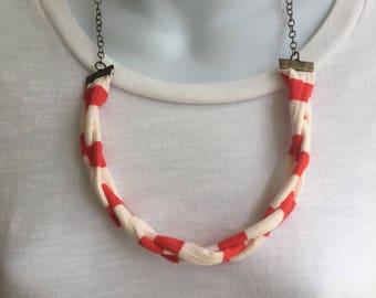 Orange and White Fabric Necklace, Fabric Statement Necklace, Bib Necklace, Tshirt Yarn, Upcycled Jewelry, Repurposed Jewelry