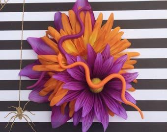 Snake Hair Clip, Halloween Hair Flower, Hair Flower, Halloween Hair Clip, Pinup Hair Flower, Rockabilly Hair Clip, Goth Hair Clip Fascinator
