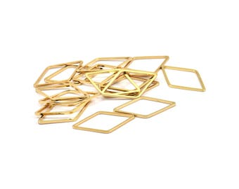 Gold Diamond Ring, 12 Gold Plated Brass Diamond Connectors (13x23mm) Bs 1128 Q090