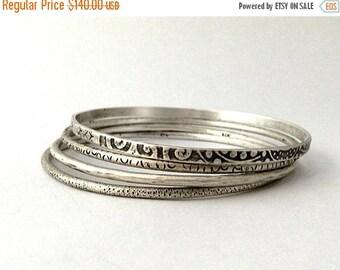 sterling silver bangle set, set of 4 bracelets, unisex bracelets, sterling silver, size MEDIUM, ready to ship