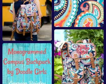 SALE.. Emerson Paisley Campus Backpack.  Monogrammed college backpack.  Monogrammed Paisley Backpack.  Personalized college backpack.