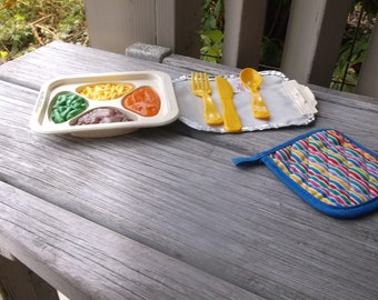1988 Fisher Price Fun with Food TV Dinner Mac N Cheese Complete Set