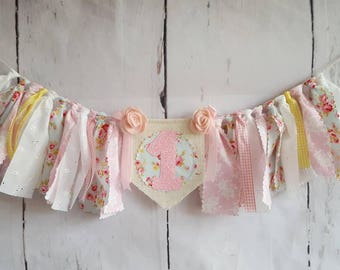 Pretty Pastel - Cottage Chic Burlap High Chair Banner - Raggy Fabric Bunting - First Birthday Party - Photo Prop - Cake Smash