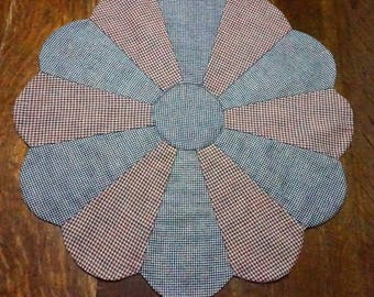 Primitive or Country Blue and Red Checked Table Topper Reverses to Christmas Rocking Horses & Teddy Bears