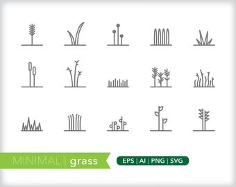 Minimal grass line icons | EPS AI PNG | Geometric Plant Clipart Design Elements Digital Download