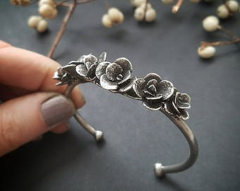 Succulent Row Cuff, Bronze or Sterling Silver, handmade in Austin, Tx by Jamie Spinello