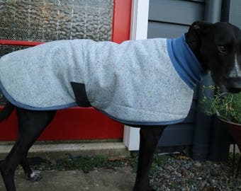 speckle in blue and tan...winter coat for a lurcher or pointer in vintage wool and fleece
