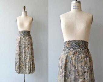 Dororthy Schoelen rayon skirt | vintage floral rayon skirt | high waisted floral print skirt