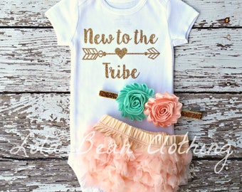 Newborn Girl Clothes Baby Girl New to the Tribe Coming Home Outfit Take Home Outfit lolabeanclothing Baby Shower Gift Baby Outfit