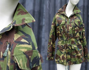 Army Green Camouflage Adjustable Cinch Waist and Bottom Hem Unisex Canvas Jacket Coat Outerwear