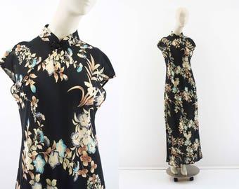 Asian Inspired Maxi Dress / Sheer / Mandarin Collar / Cap Sleeve / Floral Print / Double Slit / Woman's / Retro / Maxi