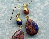SALE will ship June 19 Lapis Lazuli Gold stone Earrings, Unique Asymmetrical Earrings,18 K Gold Filled Earrings, Drop Earrings, Blue Gold  E