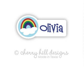 rainbow Mini die cut labels 1.5 inches wide - seen in Parents Mag and Family Fun Mag - waterproof label - does not fade - dishwasher safe