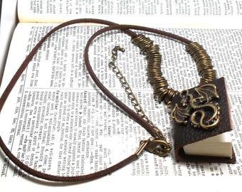 Oxidized Brass Flying Dragon Charm Miniature Sketch Book Pendant
