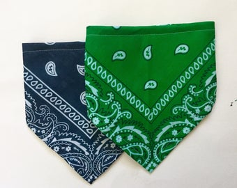 Bandana Bib for Baby- Navy Blue or Kelly Green Bibdana
