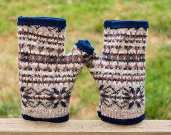 Recycled 100% cashmere and wool fingerless gloves.  Navy blue with taupe and tan accents.  Navy lining.