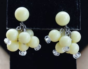 "On sale Pale Yellow Screw back Earrings, Dangle, Vintage, ""Richelieu"" (AD2)"