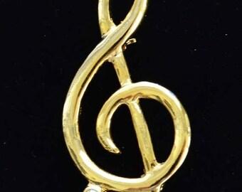 On sale Pretty Vintage Rhinestone, Gold tone Musical Note Brooch (F16)