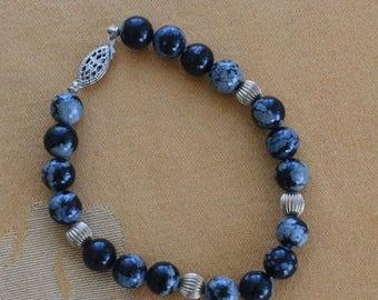"""On sale Pretty Vintage Black, Gray Obsidian, Semi-Precious, Sterling Silver Bracelet, 7-1/2"""" (P2)"""