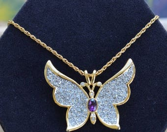 "On sale Beautiful Vintage Pave Rhinestone, Amethyst Butterfly Pendant Necklace, Gold tone, 24"", P.S. Company (H13)"