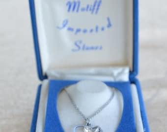 ON SALE Pretty Vintage Filigree Rhinestone Heart Necklace, Silvertone