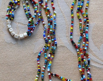 """ON SALE Multi-Colored Glass Seed Bead Multi-Strand Necklace, Hippie, 1970's, 25""""-28"""" (Q13)"""