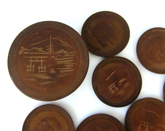 Vintage Japanese Coasters Etched Wooden Coasters Fathers Day Bar Decor Retro MOD Ranch Decor Dark Wood Drink Coasters Carved Asian Scenery