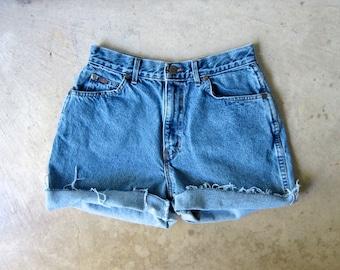"""80s Blue Jean Shorts High Waist Cut Off Denim Shorts Vintage CHIC 1980s MOM Shorts Frayed Hipster Boho Womens Medium 28"""" Waist"""
