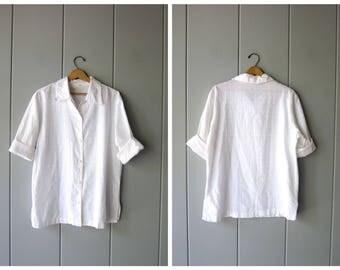 Vintage White Cotton Blouse Minimal Quarter Sleeve Shirt Textured Button Up White Tunic Top Oversized Modern White Tee Womens Medium