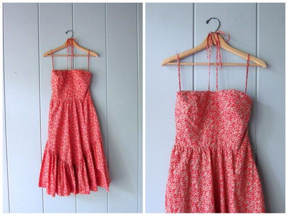 80s Halter Dress Red Beige Printed Summer Dress Ruched Back Sun Dress Sexy Sweetheart Bust Strapless SunDress with Belt Womens Medium