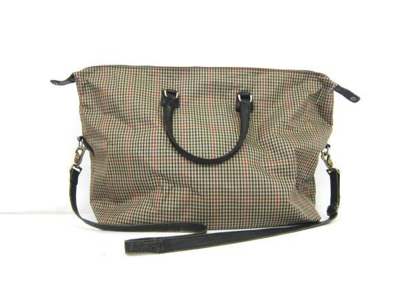 Vintage Diane Von Furstenberg Weekender Bag Large Soft Shell Suitcase Travel Vacation Bag Modern Suitcase Duffel Purse Plaid Hand Bag