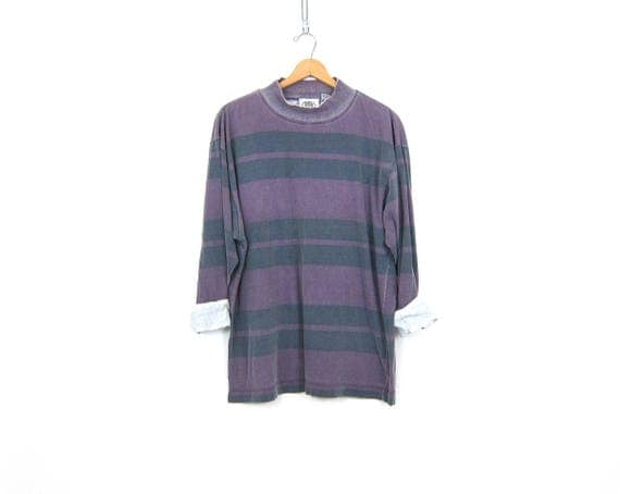Striped Purple tee Shirt Faded Boyfriend Long Tunic Top Oversized baggy Hipster Shirt Distressed Mock Neck Tshirt Men's Size Large
