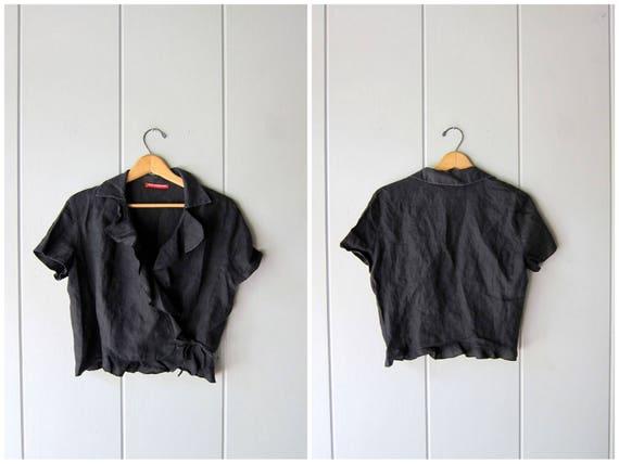 Black Linen Blouse Linen Crop Top Minimal WRAP Short Sleeve Tee 90s Modern Ruffled Top Casual Minimalist Blouse Vintage Womens Medium Large