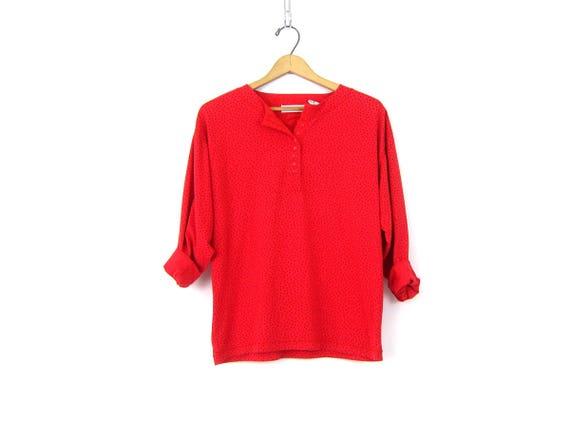 Basic 80s Red Shirt Long Sleeve Shirt Button Neck Polka Dot Simple Cotton blend Shirt 1980s Fall Shirt Vintage Womens Medium