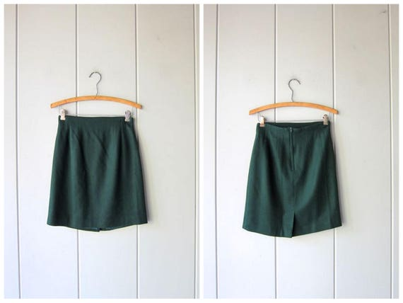Dark Green Wool Skirt Vintage 80s Minimal High Waist Preppy Skirt Forest Green Fall Wool Mini Skirt Small Fit Holiday Prep Skirt Womens XS
