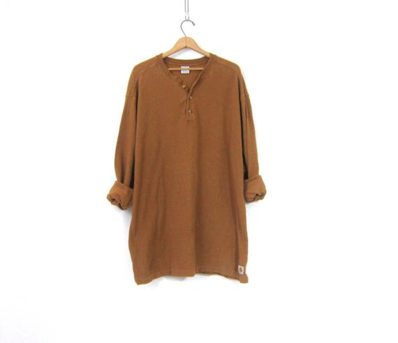vintage long underwear top minimal Camel Brown button front Thermal layering shirt Extra Long Rugged Cotton henley Carhartt Shirt XL