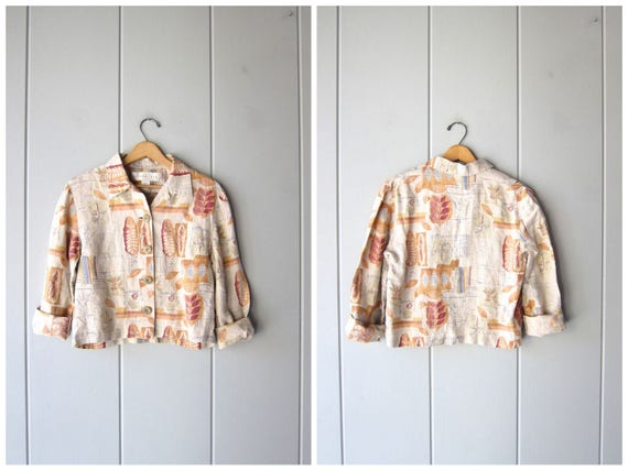 90s Linen Blouse Cropped Minimal Floral Shirt Button Up Long Sleeve Top Peach Beige Natural Linen Boxy Crop Top Vintage Womens Size 8 Medium