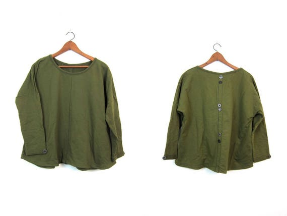 90s Oversized Sweatshirt Olive Green Pullover Sweatshirt Long Sleeve Slouchy Pullover Baggy Hipster Stretch Cotton Shirt Womens XL 2XL
