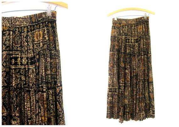 Long Black & Brown Boho Skirt Maxi Skirt Vintage 90s Rayon Peasant Festival Skirt High Elastic Waist Pattern Skirt Women's Size Small