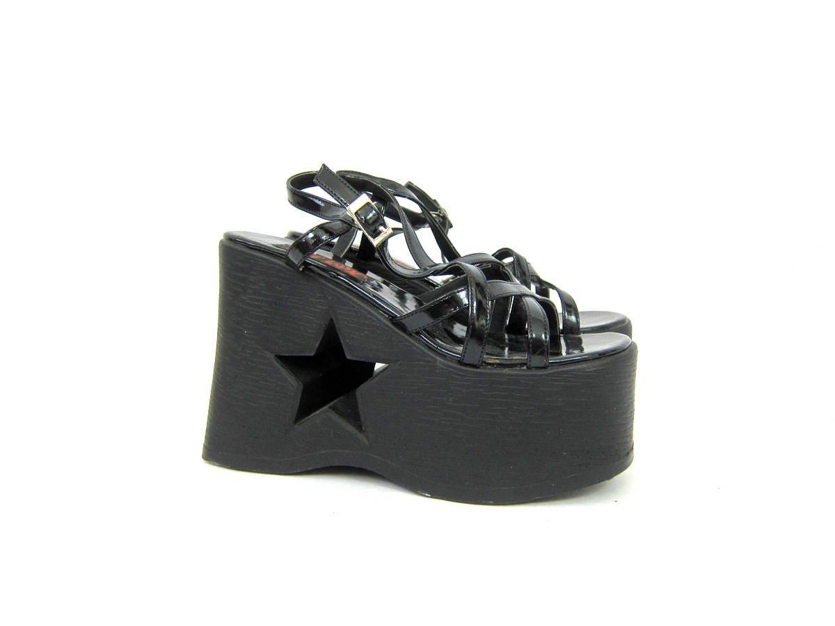 Black sandals grunge - Vintage Hot Topic Sandals Goth Shiny Black Patent Platform Sandals With Star Cut Outs Grunge Punk Shoes Women S Size