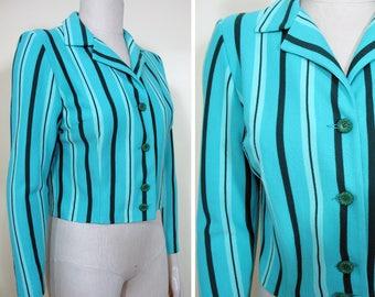 Vintage 1960s Aqua Blue and Black Striped Wool Knit Jacket SZ S/M