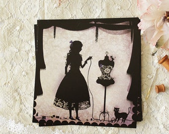 "Postcard - illustrated postcard - Miss Shadow - silhouette - sewing - seamstress - ""The Dress"""