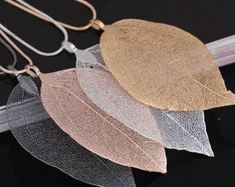 Fall leaf necklace gold silver black metal