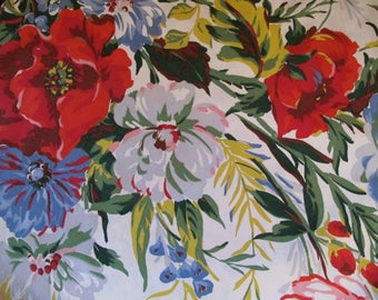 Vintage Flower Tablecloth, Cottage Chic Tablecloth, Handmade vintage fabric tablecloth, Farmhouse Charm Tablecloth, Blue Red Flower Cloth