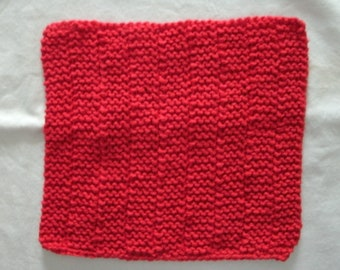 Hand Knit Red Dishcloth or Washcloth - color is red - measures approximately 8x8 inches